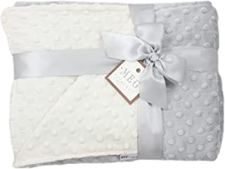 MEG Original Ivory & Gray Minky Dot Baby/Toddler Crib Blanket 6778
