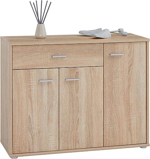 CARO-Möbel Schuhschrank DEUSTO Schuhregal Schuhkommode mit 1 Schublade und 3 Türen in Sonoma Eiche