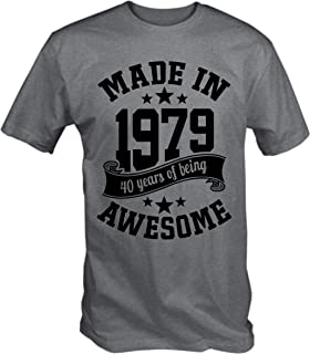4b18642e 6TN Men's Made in 1979 40 Years of Being Awesome 40th Birthday T Shirt