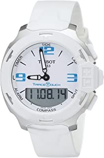Men's T0814201701701 T-Race Touch Analog-Digital Display Swiss Quartz White Watch