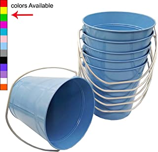 Italia 6-Pack Metal Bucket 3.7 Quart Color Light Blue Size 7.5 x 7.5