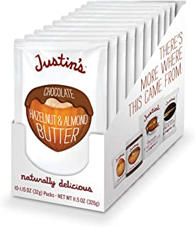 Justin's Chocolate Hazelnut & Almond Butter Squeeze Pack, Organic Cocoa, Gluten-free, Responsibly Sourced, Packaging May Vary, (1.15oz each) (Pack of 10)