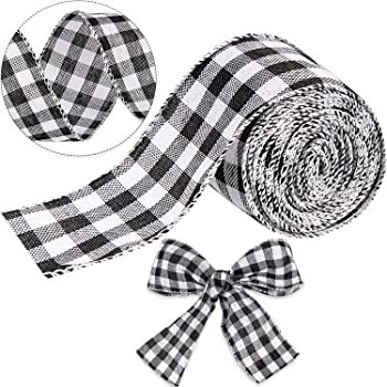 Wreath Decoration Gift Wrapping and Crafts Funarty Black and White Buffalo Plaid Ribbon Christmas Wired Edged Ribbon 2.5 Inches x 24 Yards for Christmas Tree Bows