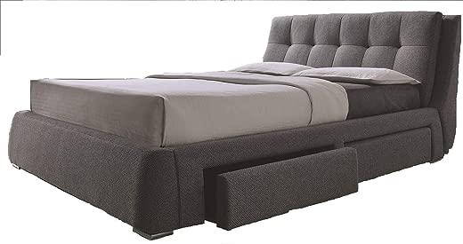 B0771M58MT✅Coaster Home Furnishings 300523KW Upholstered Bed, California King, Grey/Chrome
