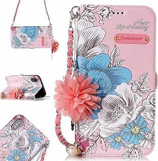 FNBK - Funda de piel tipo cartera para iPhone X/iPhone XS, diseño de flores, Pink Blue Rose