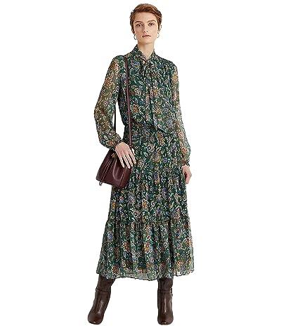 LAUREN Ralph Lauren Ascot-Print Georgette Dress