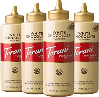 Torani White Chocolate Sauce, 16.5 Ounces, Pack of 4 [Packaging May Vary]