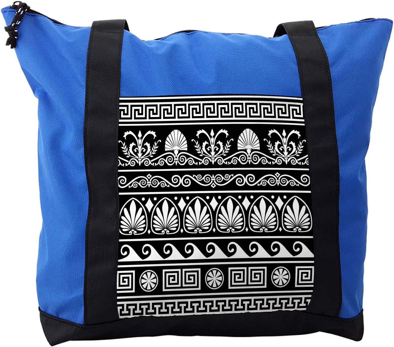 Lunarable Tribal Shoulder Bag, Antique Greek Pattern, Durable with Zipper