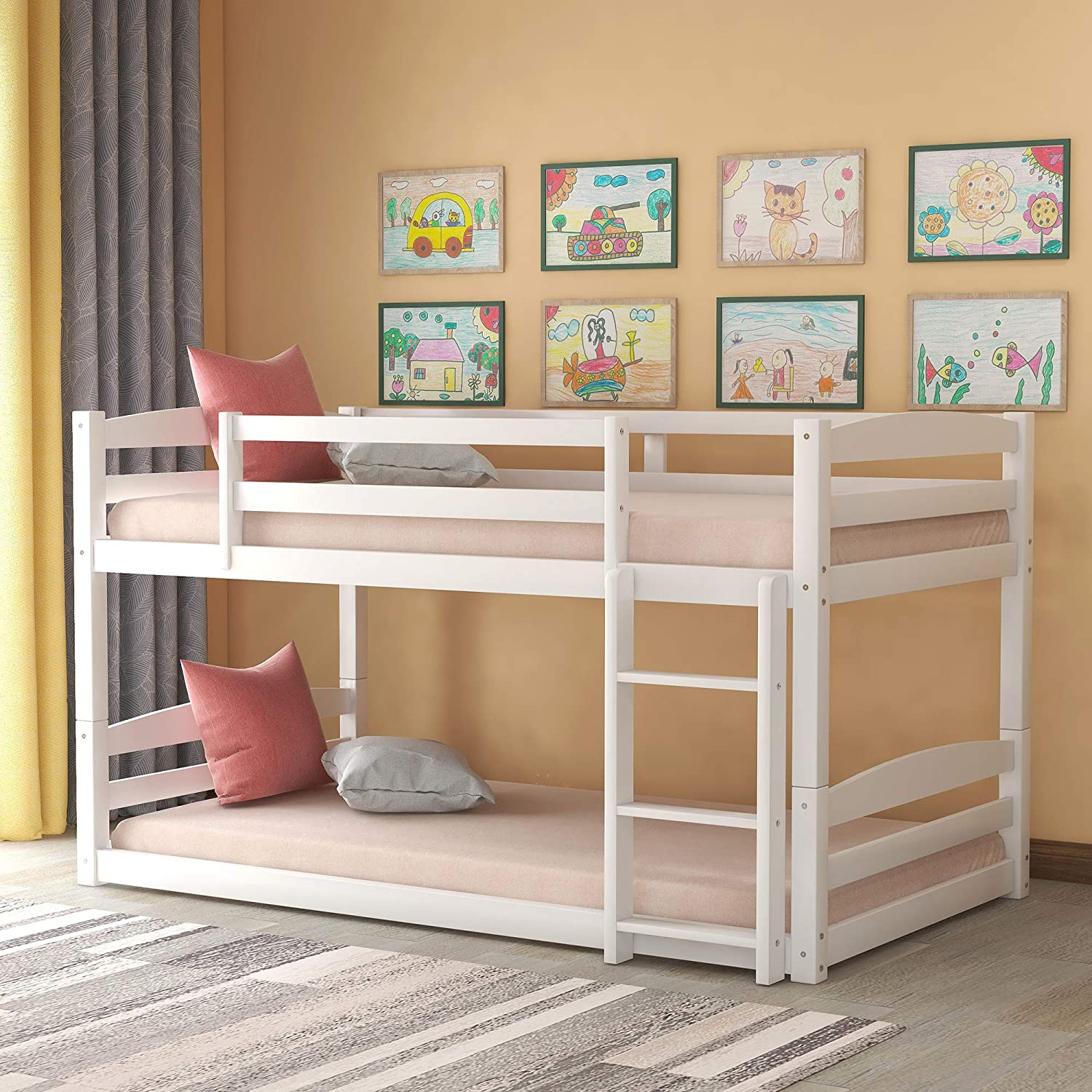 Amazon Com Twin Bunk Beds Solid Wood Twin Over Twin Bunk Bed Frame With Built In Ladders For Kids Toddlers White Kitchen Dining