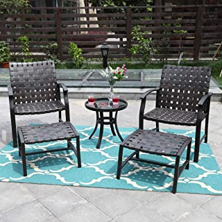 PHI VILLA Outdoor Patio Strap Strapping Chairs and Ottoman with Glass Top Side Coffee Table Set of 5