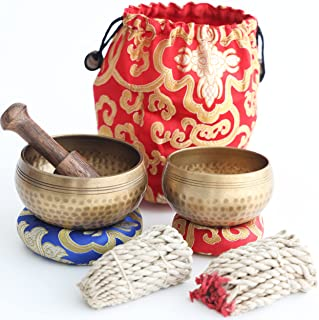 Tibetan Singing Bowl Set– 2 Bowls with Lokta Rope Incense, 4 inches and 3.1 inches Authentic Handcrafted in Nepal – Medita...