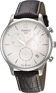 Men's T063.617.16.037.00 Stainless Steel Tradition Watch with Textured Leather Band