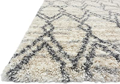 """Loloi Quincy QC-04 Indoor Area Rugs, 1'-6"""" X 1'-6"""" Square, Sand/Graphite"""
