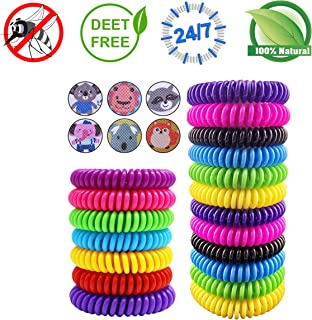Peskypest Mosquito Repellent Bracelet Bands- 100% Natural Ingredients & Waterproof- Premium Pest Control Bug Insect Repellent, Non-Toxic Adult Safe Wristband 12 Pack with 24 Mosquito Patches for Kids