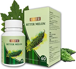 Bitter Melon Capsules 450mg - Lower Blood Sugar Level & Glucose Support, Daily Supplement | 1 Bottle/ 60 Capsules