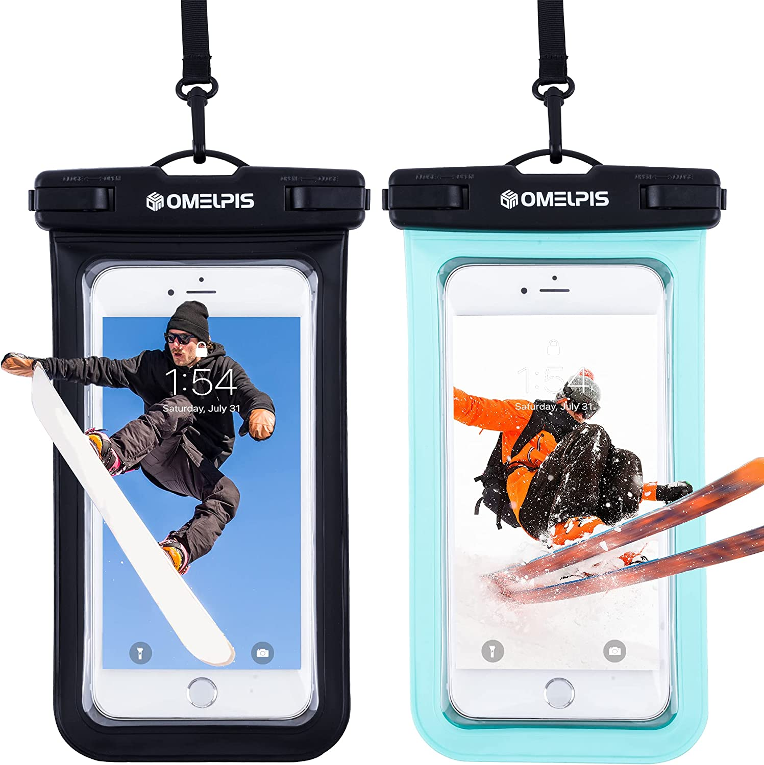 OMELPIS Universal Waterproof Phone Pouch, Waterproof Case for iPhone 11 12 Mini Pro Max X 6 Plus, Motorola, All Devices up to 7'', Cellphone Underwater Dry Bag for Skiing/Surfing/Beach -2 Pack