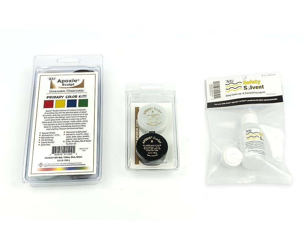 Primary Color Kit Bonus Bundle: 1 Apoxie Sculpt Primary Color Kit (Red, Yellow, Green, Blue) and 1 Apoxie Sculpt White 1/10 lb. Refill + Aves Safety Solvent 1 fl. oz