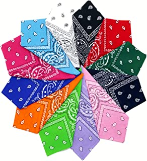 Fair Deal America 12 Pack Double Sided Paisley Print Bandana 100% Cotton Multi purpose Square Handkerchief Headband Wristband
