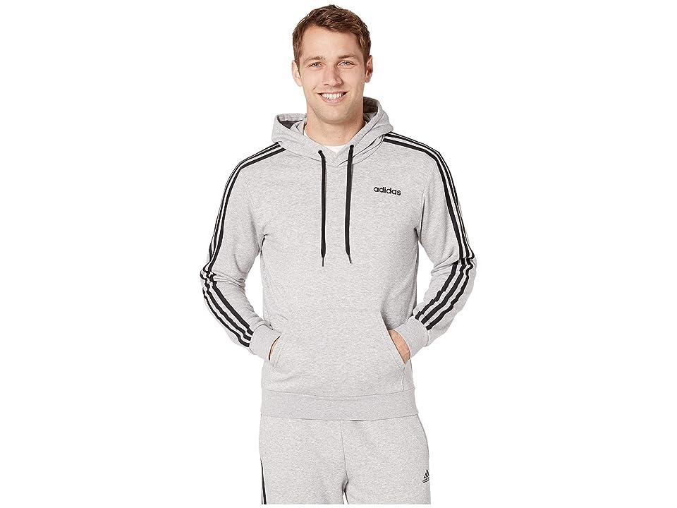 adidas Essentials 3-Stripes Pullover French Terry (Medium Grey Heather/Black) Men