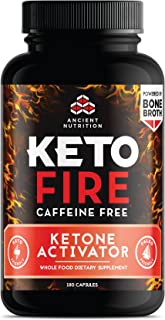 Ancient Nutrition KetoFIRE Caffeine Free Capsules, 180 Count � Keto Diet Supplement with BHB Salts as Exogenous Ketones and Electrolytes�