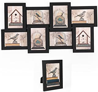 "SONGMICS Picture Frames Collage for 8 Photos in 4"" x 6"" and 1 Single Frame, Display Wood Grain, Glass Front, Assembly Required, Black URPF08B"