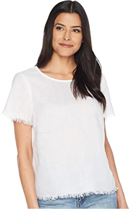 Short Sleeved Frayed Edge Linen Tee