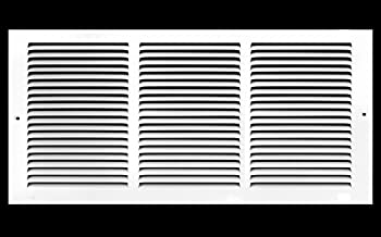 "14""w X 6""h Steel Return Air Grilles - Sidewall and Ceiling - HVAC Duct Cover - White [Outer Dimensions: 15.75""w X 7.75""h]"
