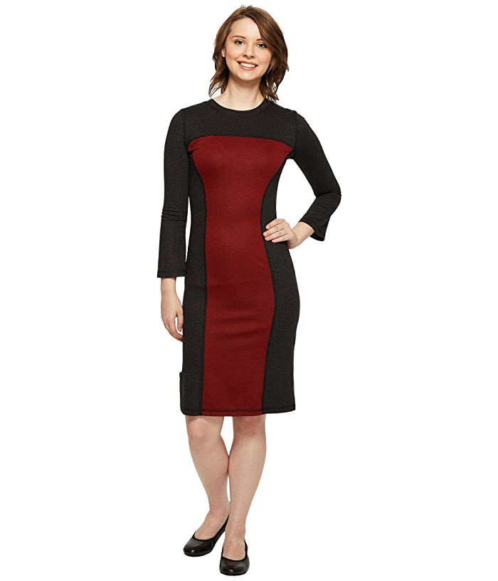 Independence Day Clothing Co Reversible Long Sleeve Panel Dress (Charcoal/Red Wine) Women's Dress