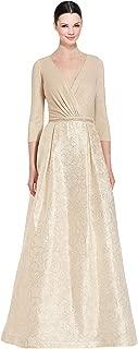 Teri Jon 3/4 Sleeve Jacquard Ball Evening Gown Dress