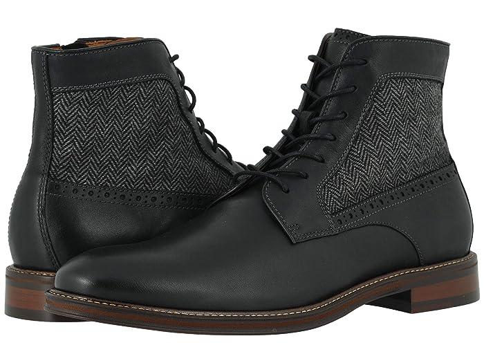 Johnston and Murphy  Warner Plain Toe Boot (Black Full Grain/Wool) Mens Shoes