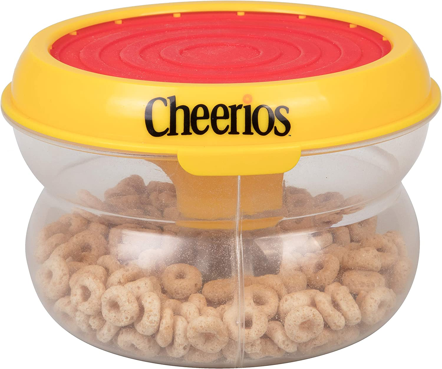 SCS Direct Cheerios Hand Drum Pat N' Snack Baby Snack Food Container - Toddler Spill Proof Feeding Bowl Cup w Travel Silicone Lid - BPA Free, PVC Free, Dishwasher Safe