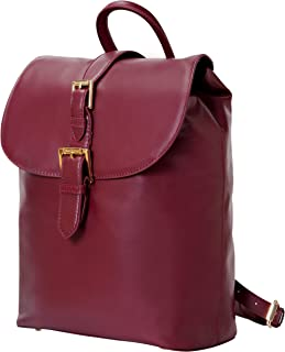 Isaac Mizrahi Kathryn mini Camera Backpack in Genuine Leather for DSLR Cameras, Lenses, Accessories and Other Tech Items-with Removable Internal Padded Pouch, Burgundy