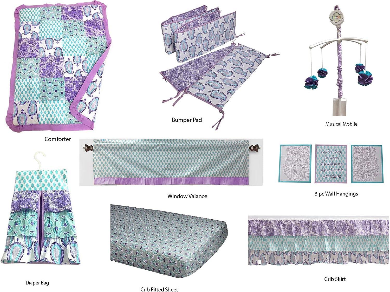 Bacati Isabella Paisley Girls 10 Piece Nursery-in-A-Bag Crib Bedding Set with Bumper Pad, purplec Purple Aqua