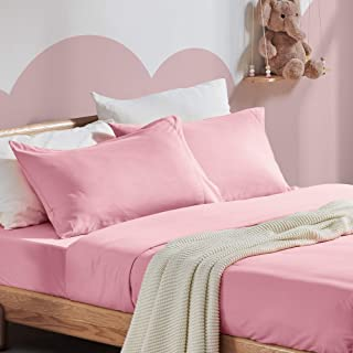 SLEEP ZONE Kids Printed Sheet Set Ultra Soft Lightweight Brushed Microfiber Twin Bed Sheets for Girls Boys 3 Pc with Deep Pocket, Twin, Ballet Pink