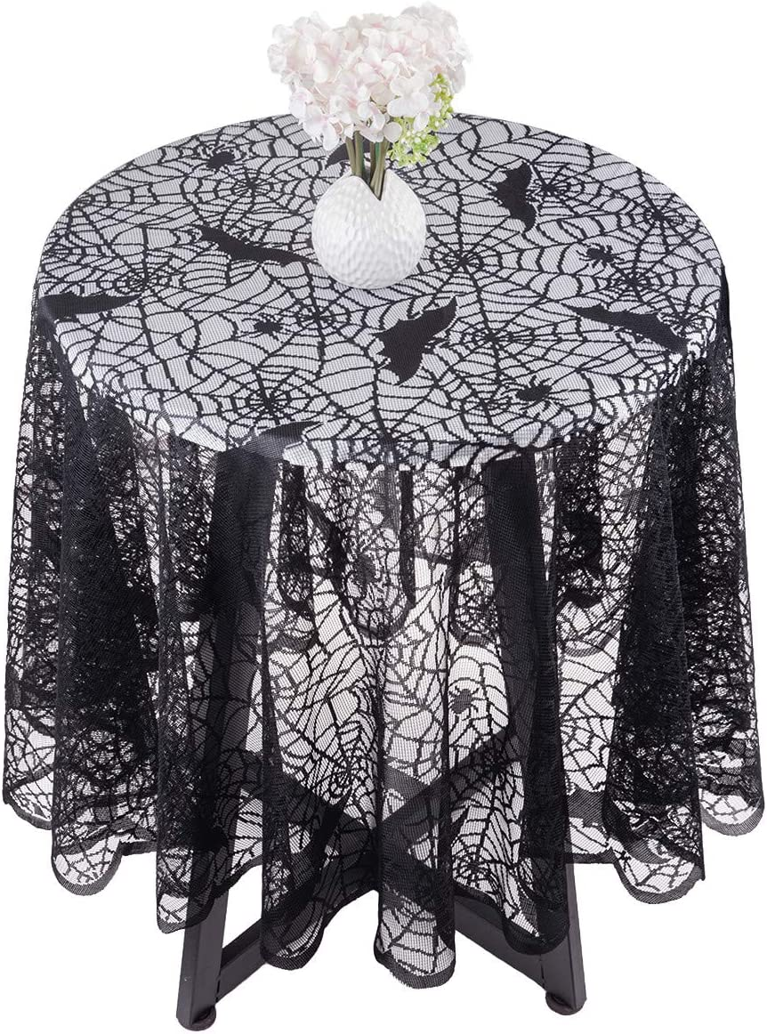 mookaitedeocr 69 Inch Polyester Lace Tablecloth Round Black Spider Web Table Topper Cloth for Halloween Parties Table Decorations