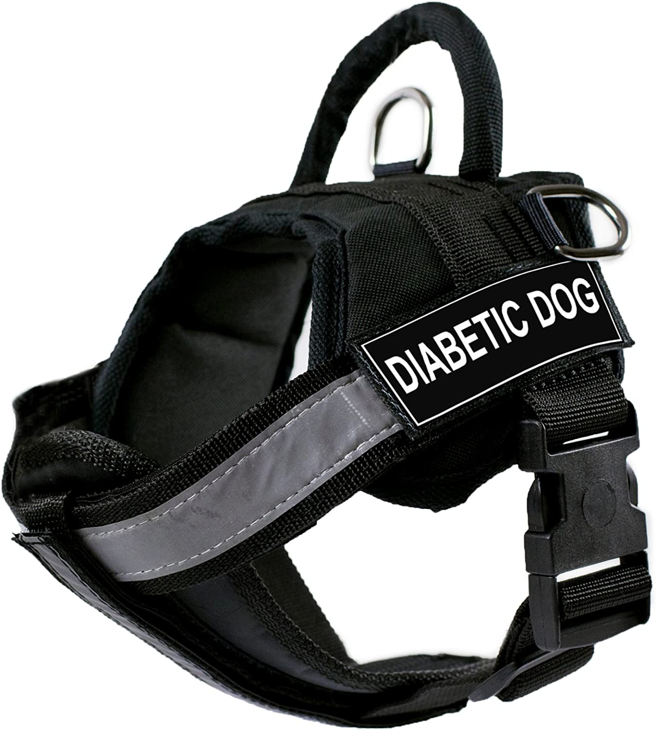 Dean & Tyler D&T WORKSCH DIABETICDOG PRSS Works Harness with Padded Reflective Chest Straps, Diabetic Dog, SmallFits Girth, 64cm to 86cm, Black