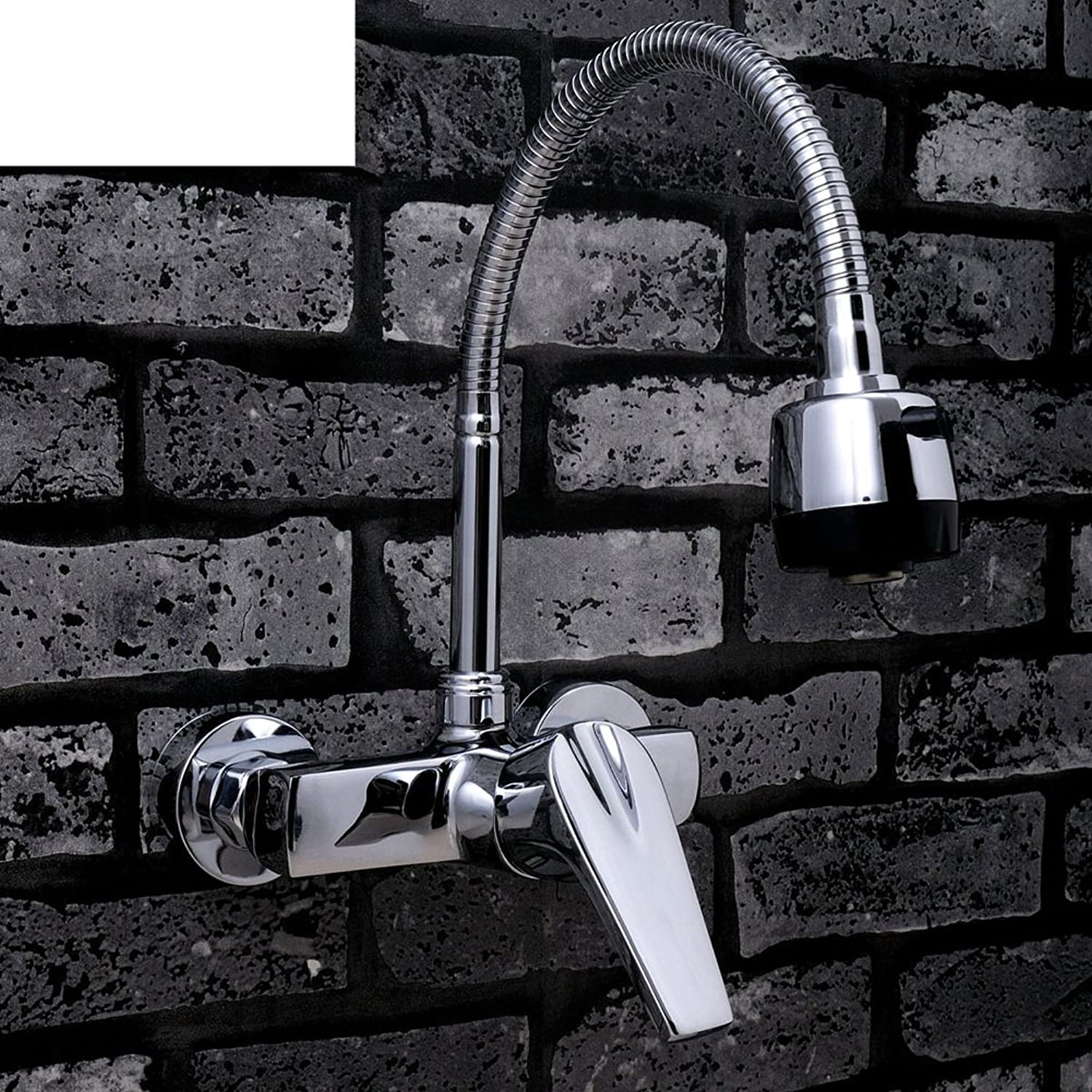 All Copper into The Wall-Type Faucet, Hot and Cold Faucet, Double Hole Basin Bathroom, Balcony Laundry Pool Swivel Faucet