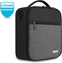 Lunch Box with Padded Liner,Amersun Spacious Insulated Lunch Bag Durable Thermal Lunch Cooler Pack with Strap for Boys Men Women Girls Adults School Sport Beach Picnic Work Camp,2 Pocket(Black Gray)