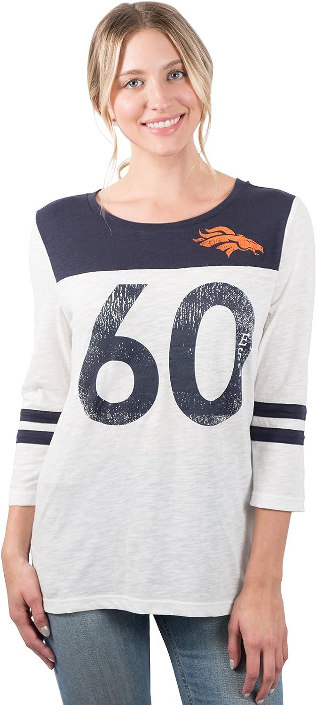 NFL Denver Broncos Women's TShirt Vintage 3 4 Long Sleeve Tee Shirt, Large, White