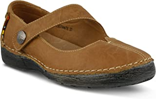Women's Spring Step Debutante Mary Jane Shoe | Color Tan | Women's Polished Leather Slip-on