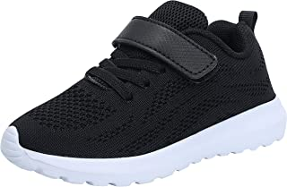 adituo Boy Girl Lightweight Breathable Sneakers Strap Athletic Running Shoes Black Big Kid 4.5