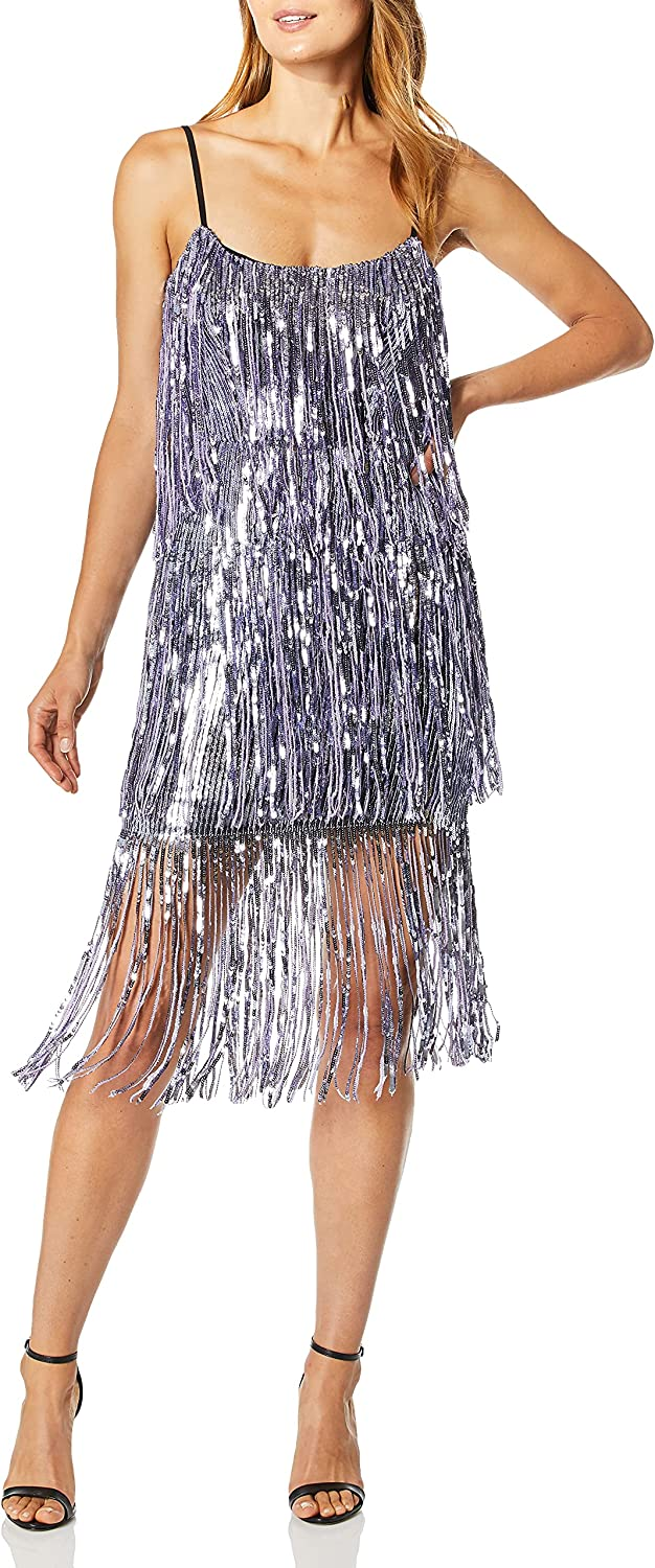 Dress the Population Women's Roxy Tiered Fringe Sequin Party Dress, Lavender, XS