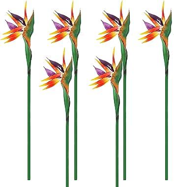 Qingriver Lot de 6 fleurs artificielles Oiseau du paradis 81,4 cm pour décoration de maison, jardin, fête de mariage (orange)