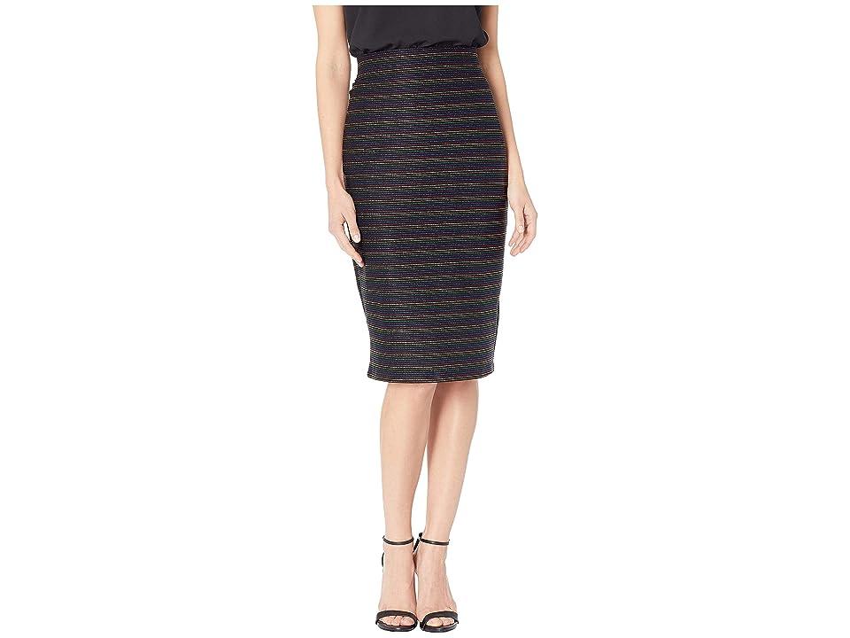 eci Multi Stripe Jacquard Skirt (Black/Multi) Women