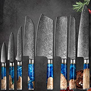 8pcs Damascus Couteau Chef Steel Set Belle poignée Sharp VG10 Lame 7 '' Santoku 8 '' Pain hachoir 5''''antlity 3.5''landin...