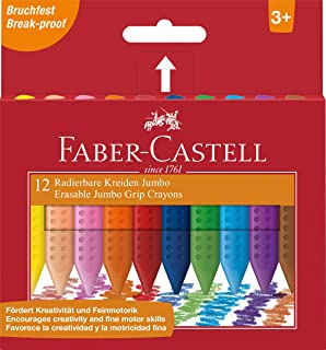Faber-Castell Coloured Jumbo Triangular Grip Erasable Wax Crayons, Assorted – Pack of 12, (21-122540)