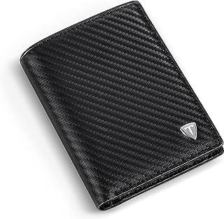 Portafoglio Uomo, Carbonio Bifold con 9 Porta Carte di Credito, Tasca Portamonete, 2 Scomparti Banconote e Finestra ID Por...