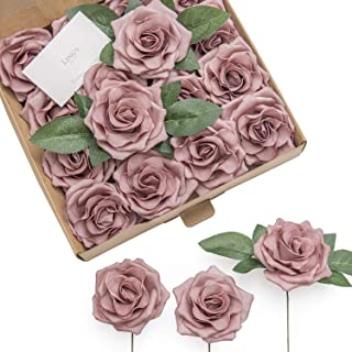 Ling's moment Rose Artificial Flowers 16pcs Realistic Dusty Rose Avalanche Roses with Stem for DIY Wedding Bouquets Centerpieces Floral Arrangements Decorations