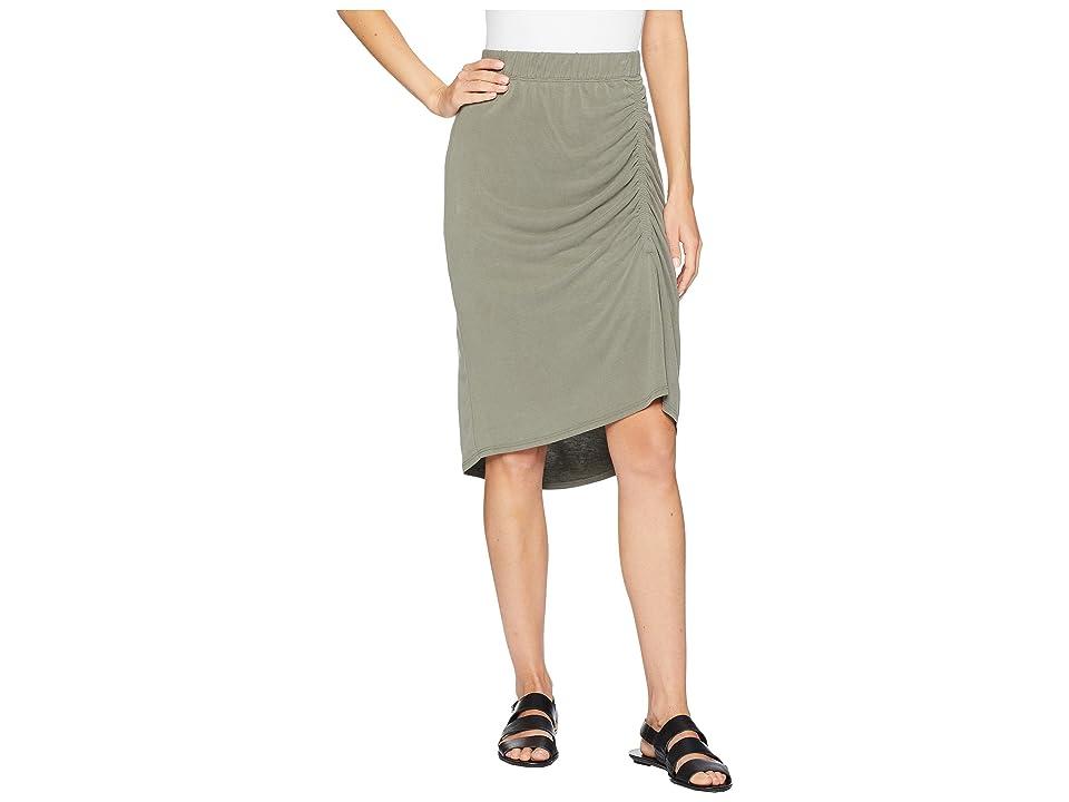 Splendid Sandwash Jersey Slit Skirt (Miltary Olive) Women