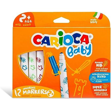 Carioca Baby Valorous Markers 2+   Rotuladores Super Lavables para Bebés a Partir de 2 años, Punta Redondeada y Colores Surtidos, 12 Uds.